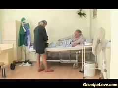 older man hottie fucking a fine dark brown nurse