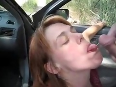 car oral-stimulation pleasure and sperm flow with