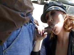 older police hotties sucking darksome pecker on