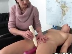 soaked pussy enjoys sex machine