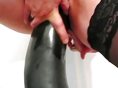 disappointed wife fucking gigantic dildos