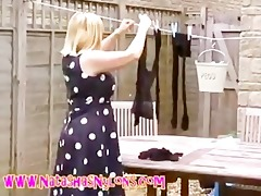whore milf wife in hose teasing the neighbours