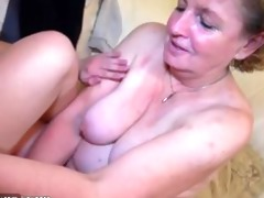 granny masturbate with youthful pair on the daybed