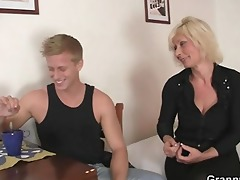 granny golden-haired rides his rigid ramrod