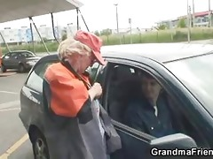 blond granny has trio outdoors