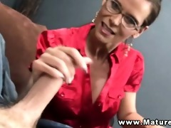 breasty older in spex tugging on penis and can