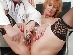 redhead granny dirty wet crack stretching in gyn