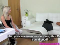 femaleagent hawt slim blond is deliciously lewd