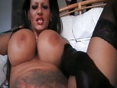 foxy mega titted mother i smoking in dark lingerie
