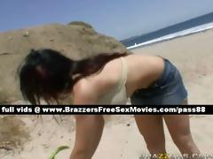 glamorous brunette hair angel on the beach