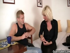 old golden-haired rides her neighbor large schlong