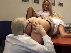 slutty cuties go down on aged guys wang after