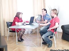 older boss takes cocks at office