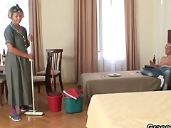 cleaning woman rides his lustful knob