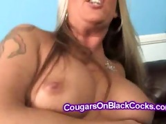 thick golden-haired mother i rides large dark