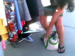 upskirted this mother i at the flea market -