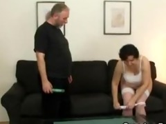 her old hirsute vagina is toyed and drilled