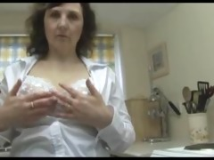 busty aged chick sluggishly disrobes down to