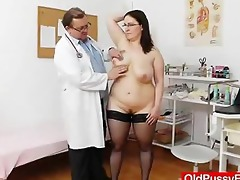 big-breasted matured ob gyn exam