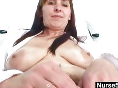 aged mommy karin shows off hairy twat
