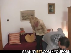 blond granny jumps on youthful dong