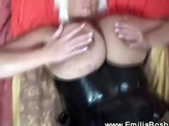 biggest titted blond uses vibrator then wang