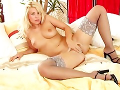 large boobed blonde milf in underware and high