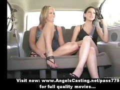 lesbo chicks and cute hitchhiker giving a kiss in