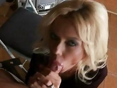 aged slim golden-haired gives a blow job to
