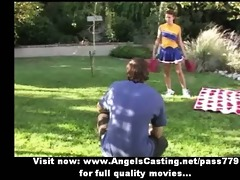 delightsome hot redhead cheerleader showing