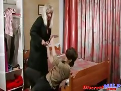 aged russian cougar drilled by dildo and jock