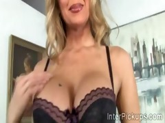 highly charming aged blond whore prepares for a