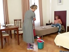 cleaning woman gives up her old twat