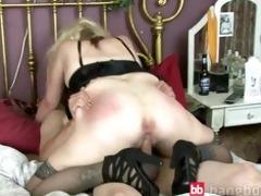 older blonde receives penis