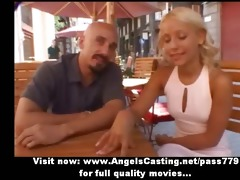 breathtaking blonde mommy talking with a guy