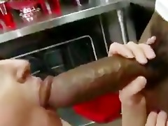 blond mommy copulates large dark pounder in