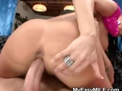 large titty brunette hair milf riding younger