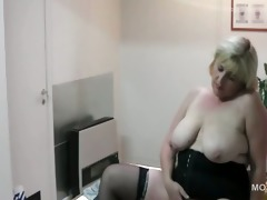 large titted aged sweetheart fucking herself on