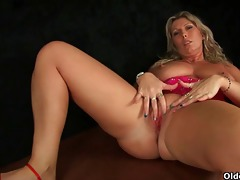soccer mama with large melons masturbates and