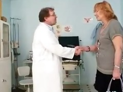 redhead granny dirty twat stretching in gyn clinic