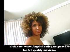 pleasing afro honey undressing and doing oral and