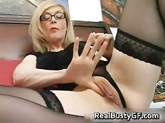 blonde mamma in glasses licking unyielding part0