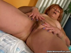 redheaded granny susan fucks her shaggy muff with