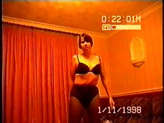 amateur drunk wife performs a striptease for her