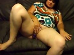chunky wife joanne dildoing and widening fur pie