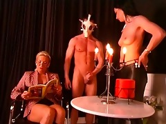 wicked aged teacher and enjoyable slaves on side