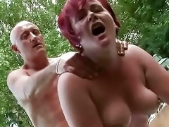 fat grandma acquires drilled hard outdoor