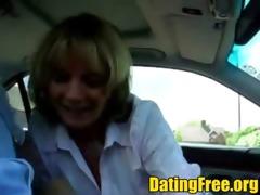 blond dilettante aged car public fellatio