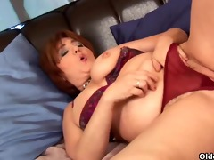 plump granny probes her old bawdy cleft with a