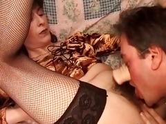 slutty chap licks unshaved bush of his lady